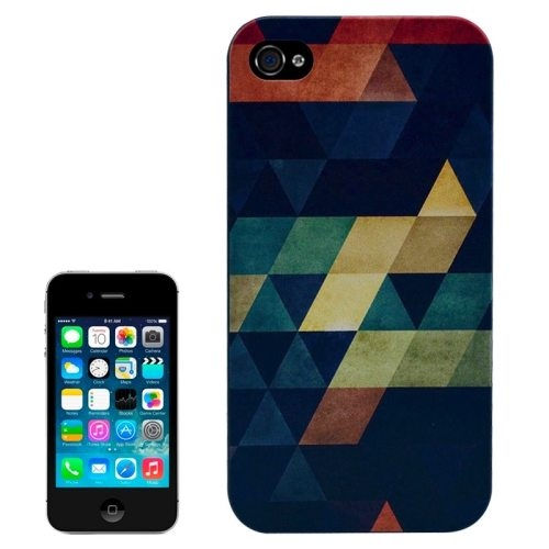 Special Pattern Frosted Black Back Shell Colored Drawing Plastic Case for iPhone 4S (Grid Pattern)