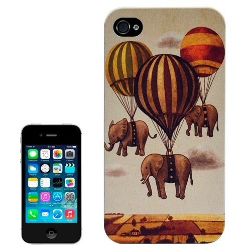 Special Pattern Frosted Black Back Shell Colored Drawing Plastic Case for iPhone 4S (Flying Elephants)