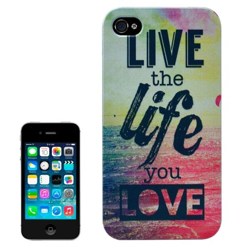 Special Pattern Frosted Black Back Shell Colored Drawing Plastic Case for iPhone 4S (English Letters)