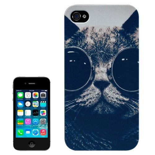 Special Pattern Frosted Black Back Shell Colored Drawing Plastic Case for iPhone 4S (Cool Cat)