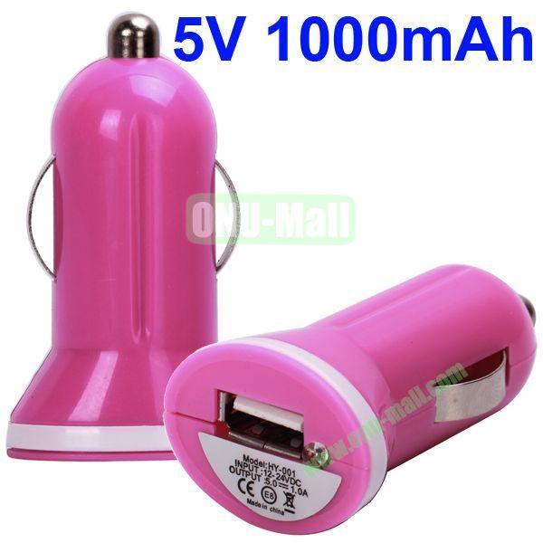 5V 1000mAh Mini USB Car Charger for iPhone 5, iPhone, iPad, Mobile Phones, Blackberry, HTC, Nokia, Etc(Hot PinkWhite)