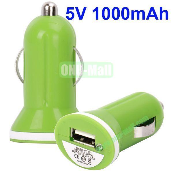 5V 1000mAh Mini USB Car Charger for iPhone 5, iPhone, iPad, Mobile Phones, Blackberry, HTC, Nokia, Etc(GreenWhite)