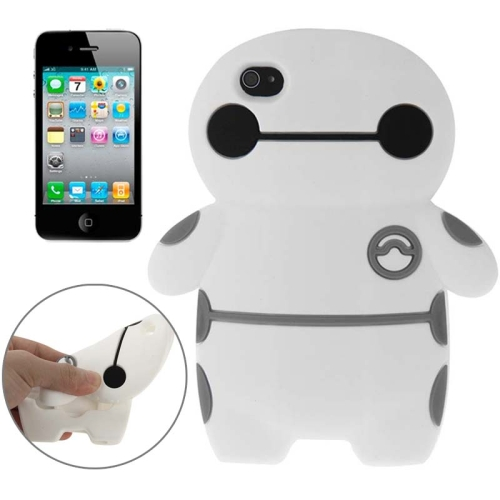 Baymax Pattern Protective Soft Silicone Back Cover Case for iPhone 4 & 4S