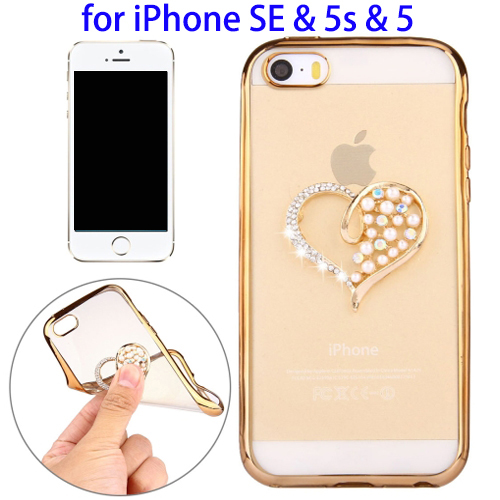 Diamond Encrusted Pearl Love Pattern Electroplating Frame TPU Protective Case for iPhone SE / 5s / 5