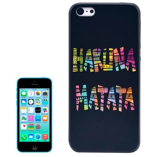 Special Pattern Frosted Black Back Shell Colored Drawing Plastic Case for iPhone 5C (Makuna Matata)