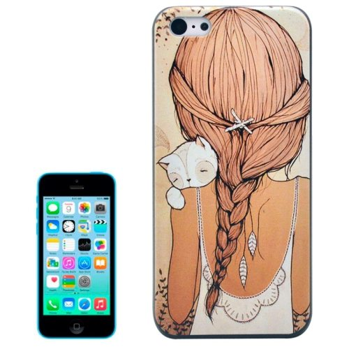 Special Pattern Frosted Black Back Shell Colored Drawing Plastic Case for iPhone 5C (Girl)