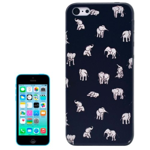 Special Pattern Frosted Black Back Shell Colored Drawing Plastic Case for iPhone 5C (Elephants)