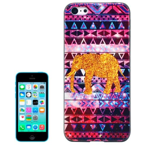 Special Pattern Frosted Black Back Shell Colored Drawing Plastic Case for iPhone 5C (Tribal Elephant)