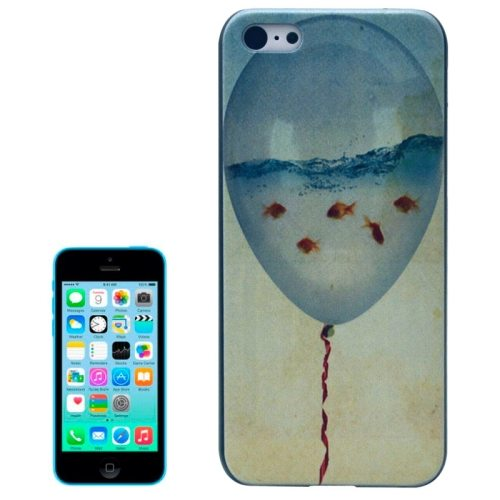 Special Pattern Frosted Black Back Shell Colored Drawing Plastic Case for iPhone 5C (Balloon Aquarium)