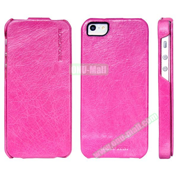 HOCO BOROFONE Vertical Oil Coated Flip Genuine Leather Case for iPhone 5 5S (Rose)