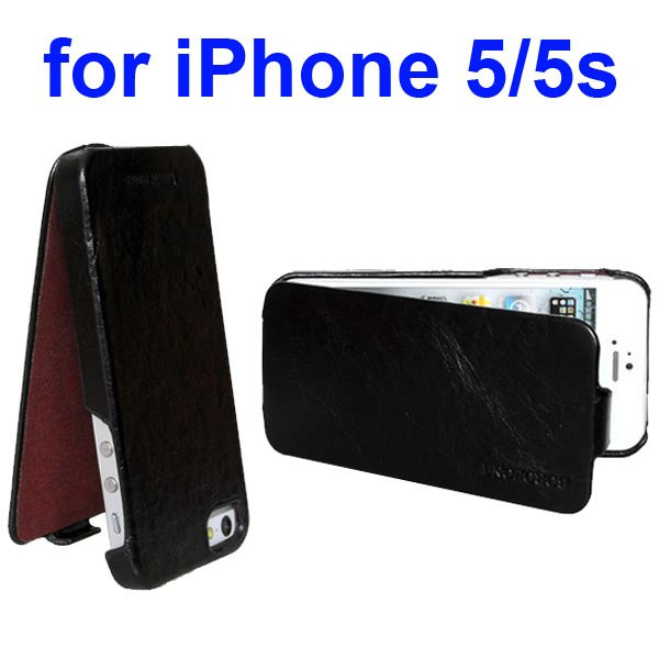 HOCO BOROFONE Vertical Oil Coated Flip Genuine Leather Case for iPhone 5 5S (Black)