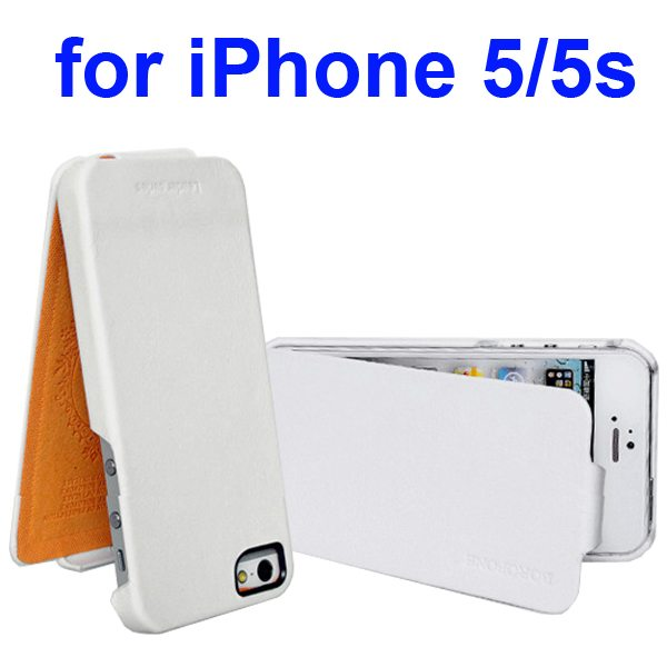 HOCO BOROFONE Vertical Oil Coated Flip Genuine Leather Case for iPhone 5 5S (White)