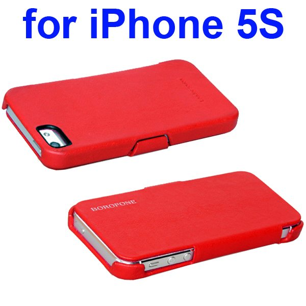 HOCO Borofone Series Side Flip Genuine Leather Case for iPhone 5 5S (Red)
