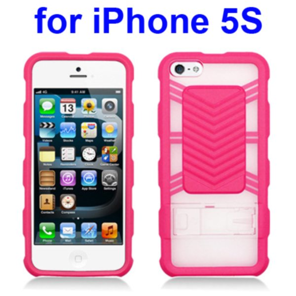 2 in 1 Durable TPU and Hard Shockproof Hybrid Case for iPhone 5 5S with Kickstand (Pink)