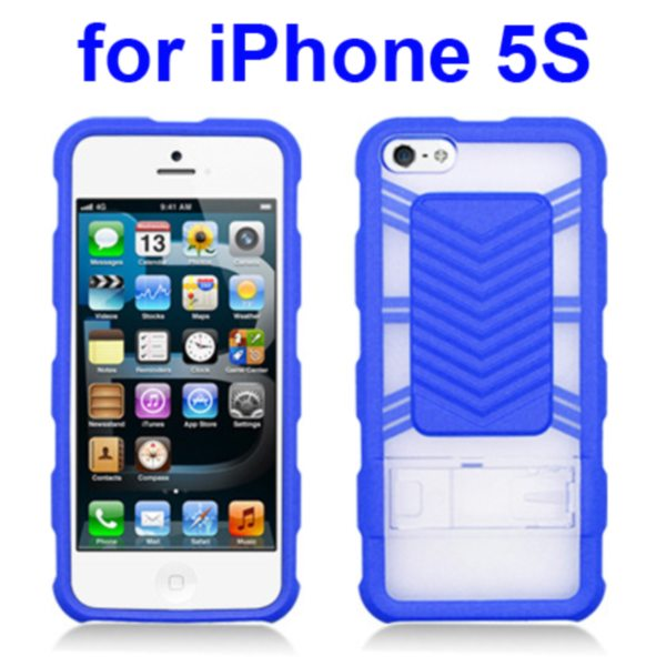 2 in 1 Durable TPU and Hard Shockproof Hybrid Case for iPhone 5 5S with Kickstand (Blue)