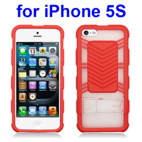 2 in 1 Durable TPU and Hard Shockproof Hybrid Case for iPhone 5 5S with Kickstand (Red)