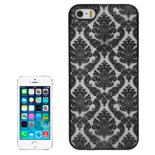 Embossed Flowers Pattern Hard Protective Case Cover for iPhone 5/ 5S (Black)