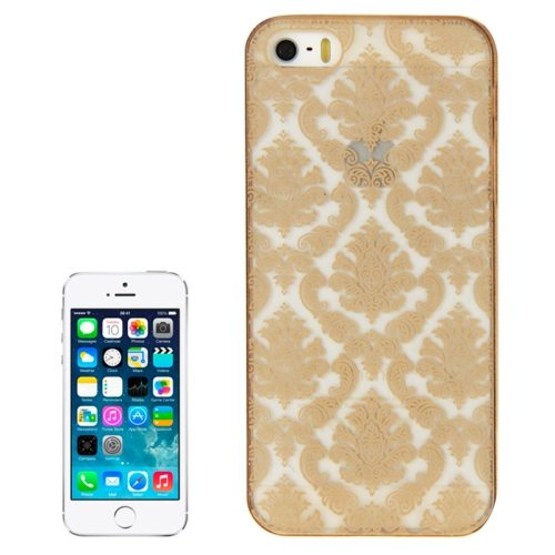Embossed Flowers Pattern Hard Protective Case Cover for iPhone 5/ 5S (Gold)