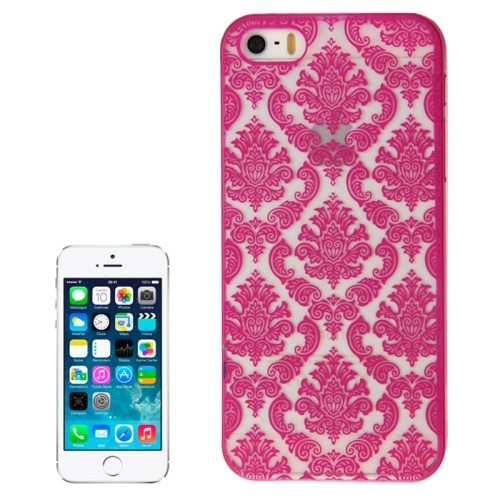 Embossed Flowers Pattern Hard Protective Case Cover for iPhone 5/ 5S (Magenta)