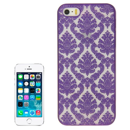 Embossed Flowers Pattern Hard Protective Case Cover for iPhone 5/ 5S (Purple)