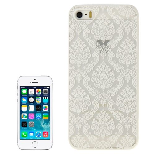 Embossed Flowers Pattern Hard Protective Case Cover for iPhone 5/ 5S (White)