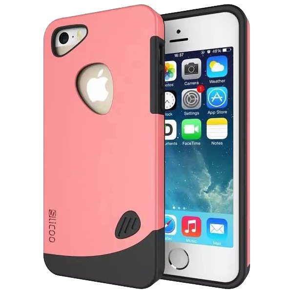 Slicoo Brand 2 in 1 Soft TPU and PC Hybrid Case Cover for iPhone 5/ 5S (Pink)