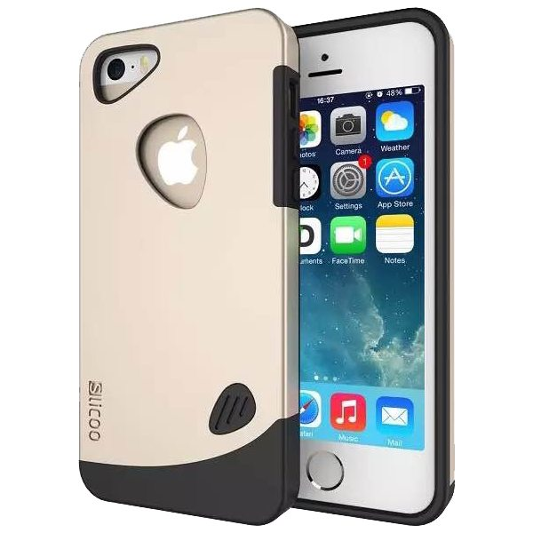 Slicoo Brand 2 in 1 Soft TPU and PC Hybrid Case Cover for iPhone 5/ 5S (Gold)