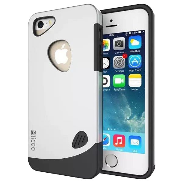 Slicoo Brand 2 in 1 Soft TPU and PC Hybrid Case Cover for iPhone 5/ 5S (White)