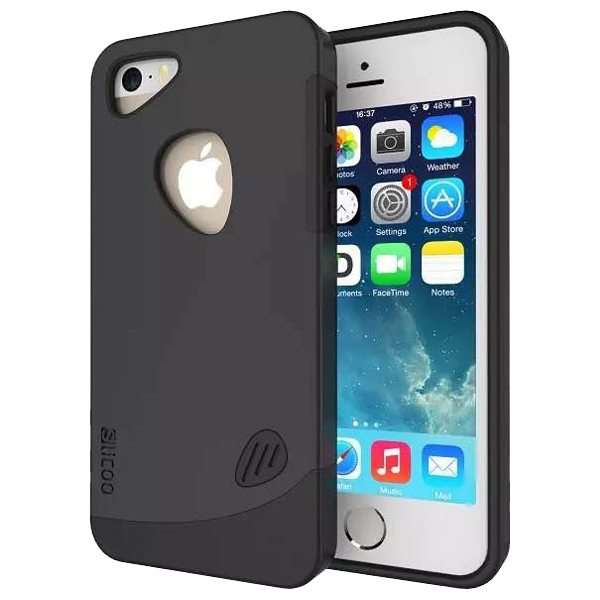 Slicoo Brand 2 in 1 Soft TPU and PC Hybrid Case Cover for iPhone 5/ 5S (Black)