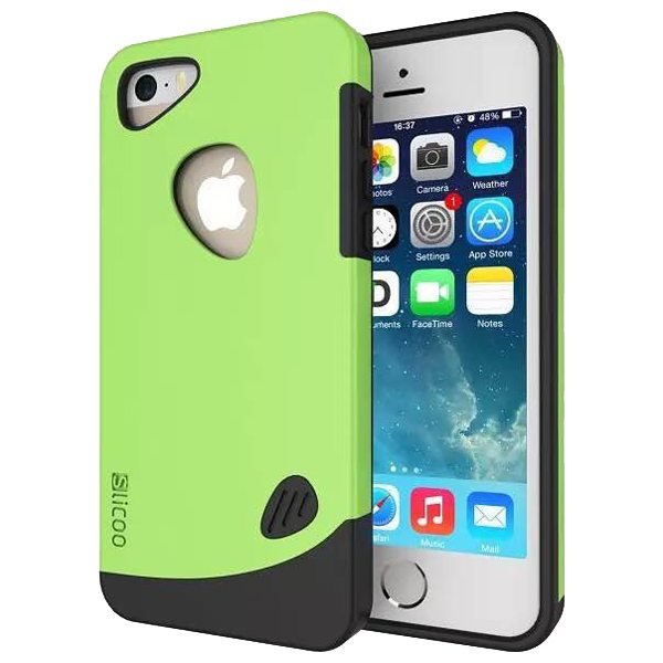 Slicoo Brand 2 in 1 Soft TPU and PC Hybrid Case Cover for iPhone 5/ 5S (Green)
