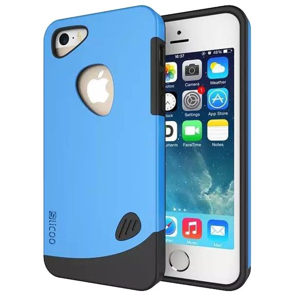 Slicoo Brand 2 in 1 Soft TPU and PC Hybrid Case Cover for iPhone 5/ 5S (Blue)