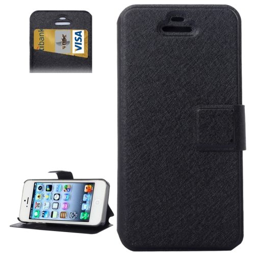 Silk Texture Leather Flip Case for iPhone 5 & 5S with Credit Card Slot & Holder (Black)