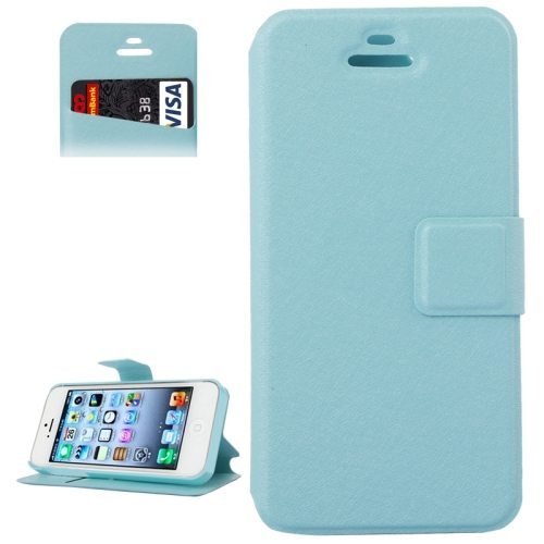 Silk Texture Leather Flip Case for iPhone 5 & 5S with Credit Card Slot & Holder (Blue)