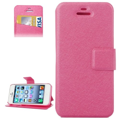 Silk Texture Leather Flip Case for iPhone 5 & 5S with Credit Card Slot & Holder (Magenta)
