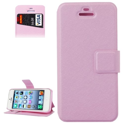 Silk Texture Leather Flip Case for iPhone 5 & 5S with Credit Card Slot & Holder (Pink)