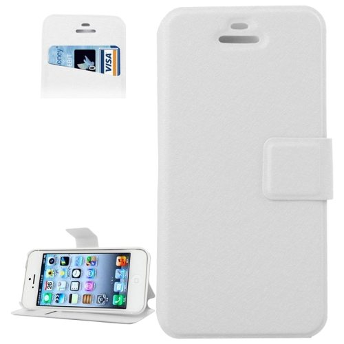 Silk Texture Leather Flip Case for iPhone 5 & 5S with Credit Card Slot & Holder (White)