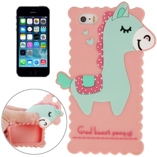 3D God Beast Pony Style Silicone Case for iPhone 5 & 5S (Pink)