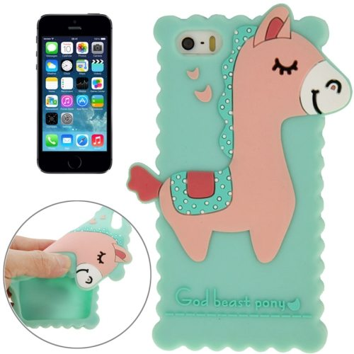 3D God Beast Pony Style Silicone Case for iPhone 5 & 5S (Green)