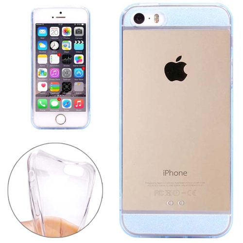 Ultra Thin Transparent Soft TPU Phone Case Cover for iPhone 5/ 5S (Blue)