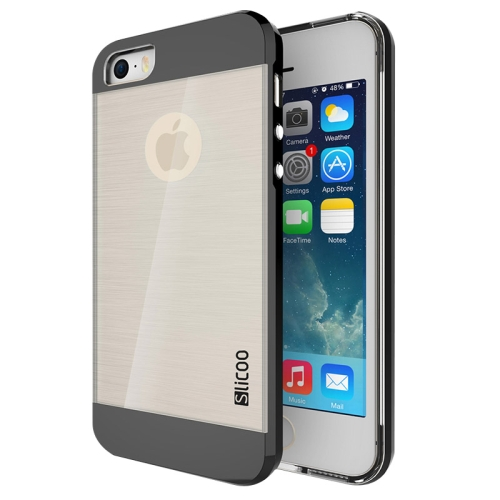 Electroplating Style Brushed Texture TPU and PC Hybrid Protective Cover for iPhone 5S (Black)