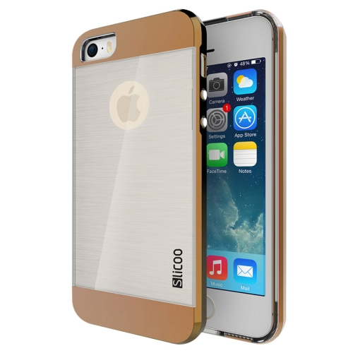 Electroplating Style Brushed Texture TPU and PC Hybrid Protective Cover for iPhone 5S (Coffee)