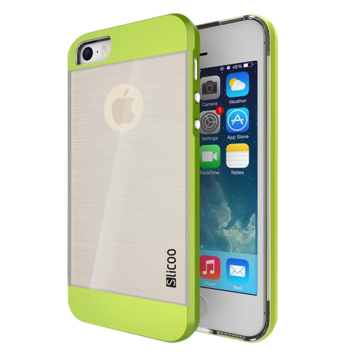 Electroplating Style Brushed Texture TPU and PC Hybrid Protective Cover for iPhone 5S (Green)