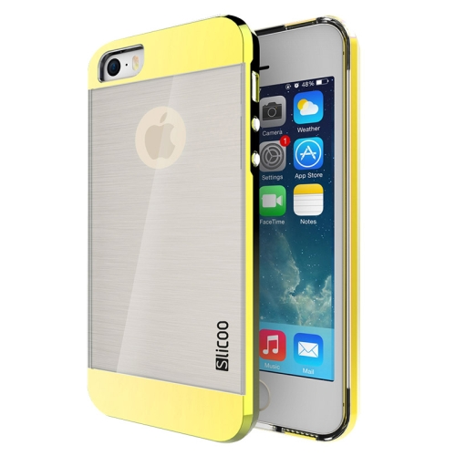 Electroplating Style Brushed Texture TPU and PC Hybrid Protective Cover for iPhone 5S (Yellow)