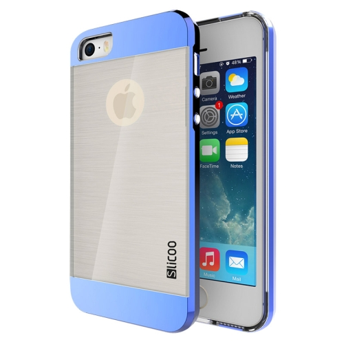 Electroplating Style Brushed Texture TPU and PC Hybrid Protective Cover for iPhone 5S (Blue)