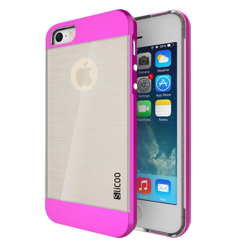 Electroplating Style Brushed Texture TPU and PC Hybrid Protective Cover for iPhone 5S (Magenta)