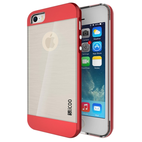 Electroplating Style Brushed Texture TPU and PC Hybrid Protective Cover for iPhone 5S (Red)