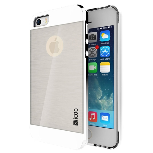 Electroplating Style Brushed Texture TPU and PC Hybrid Protective Cover for iPhone 5S (White)