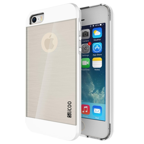Electroplating Style Brushed Texture TPU and PC Hybrid Protective Cover for iPhone 5S (Silver)