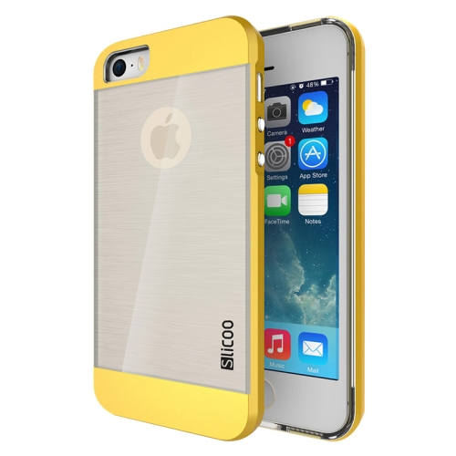 Electroplating Style Brushed Texture TPU and PC Hybrid Protective Cover for iPhone 5S (Golden)