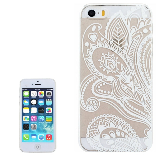 Ultra-Thin Carved Flower Pattern Transparent Frame PC Protective Case for iPhone 5 & 5S (Pattern 1)